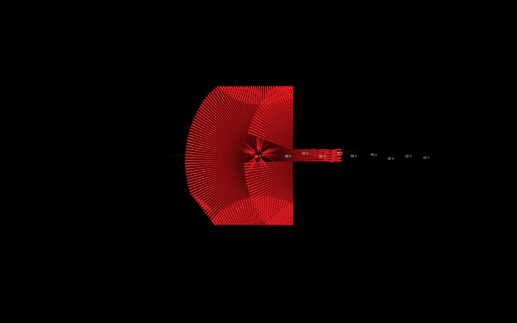 暗い画面で赤い光か飛び散っています。
