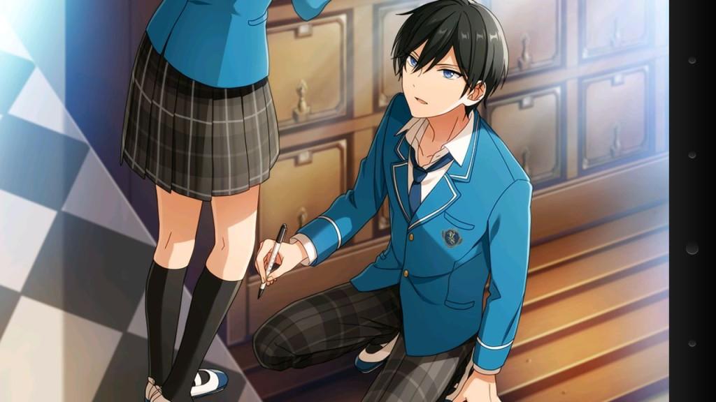 主人公の前でペンを持った男の子が跪いています。
