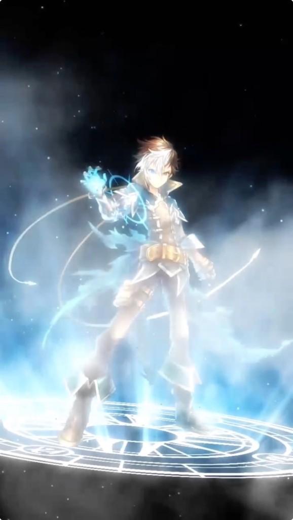 魔法陣の中にいるカイドが青白く光り輝いています。