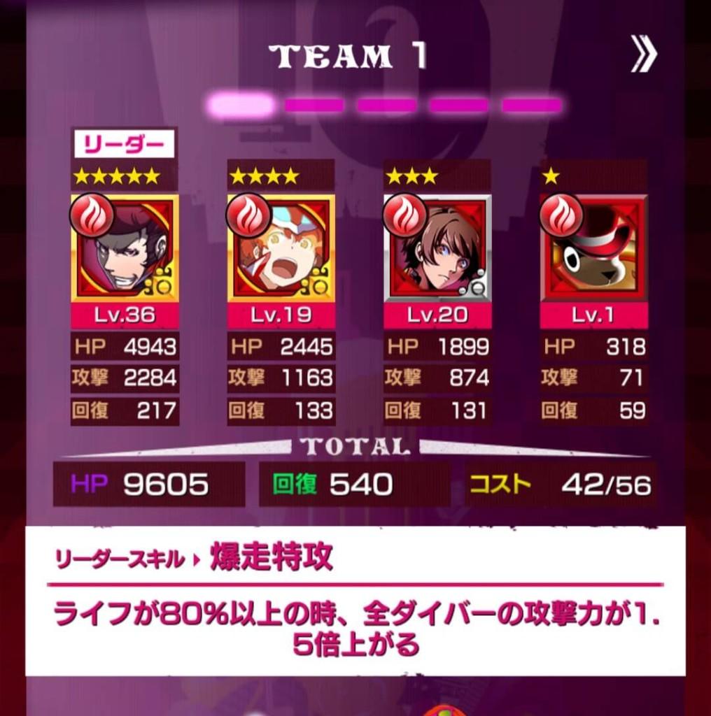 チーム編成で赤のユニットで固めてみた自慢のチーム1