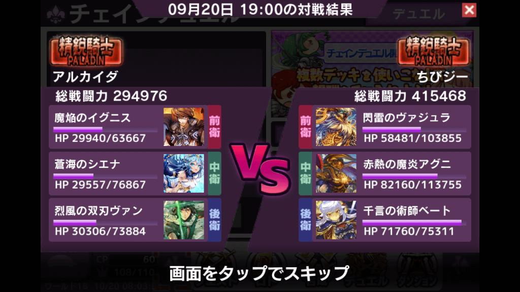 対戦の結果画面です。