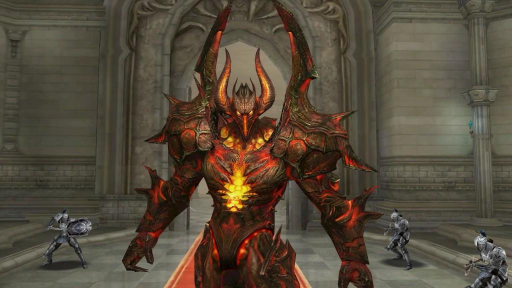赤い角の生えた鎧を纏う敵が現れました。