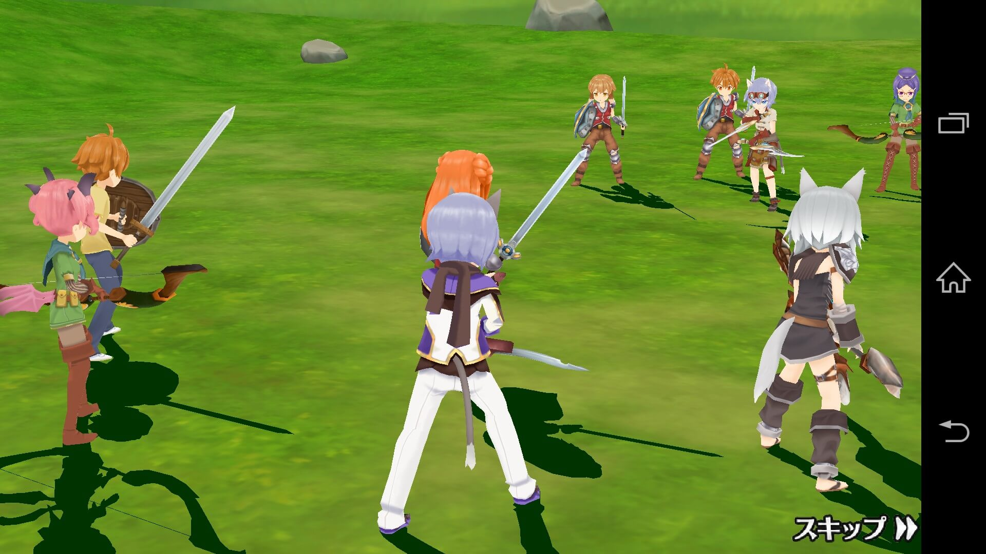 対戦で相手の班と自分の班が武器を構えて立っています。