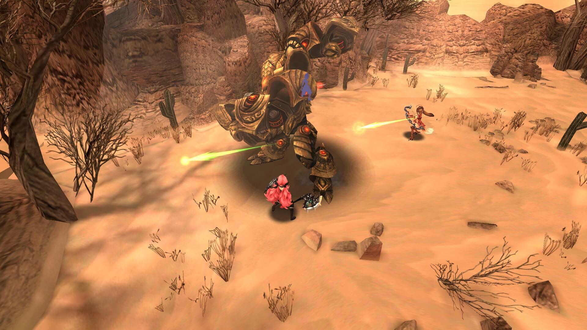 砂漠でゴーレムに戦いを挑んでいるところです。