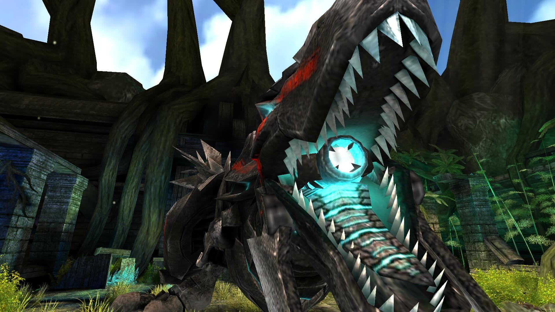 巨大なメカ恐竜が表示されています。