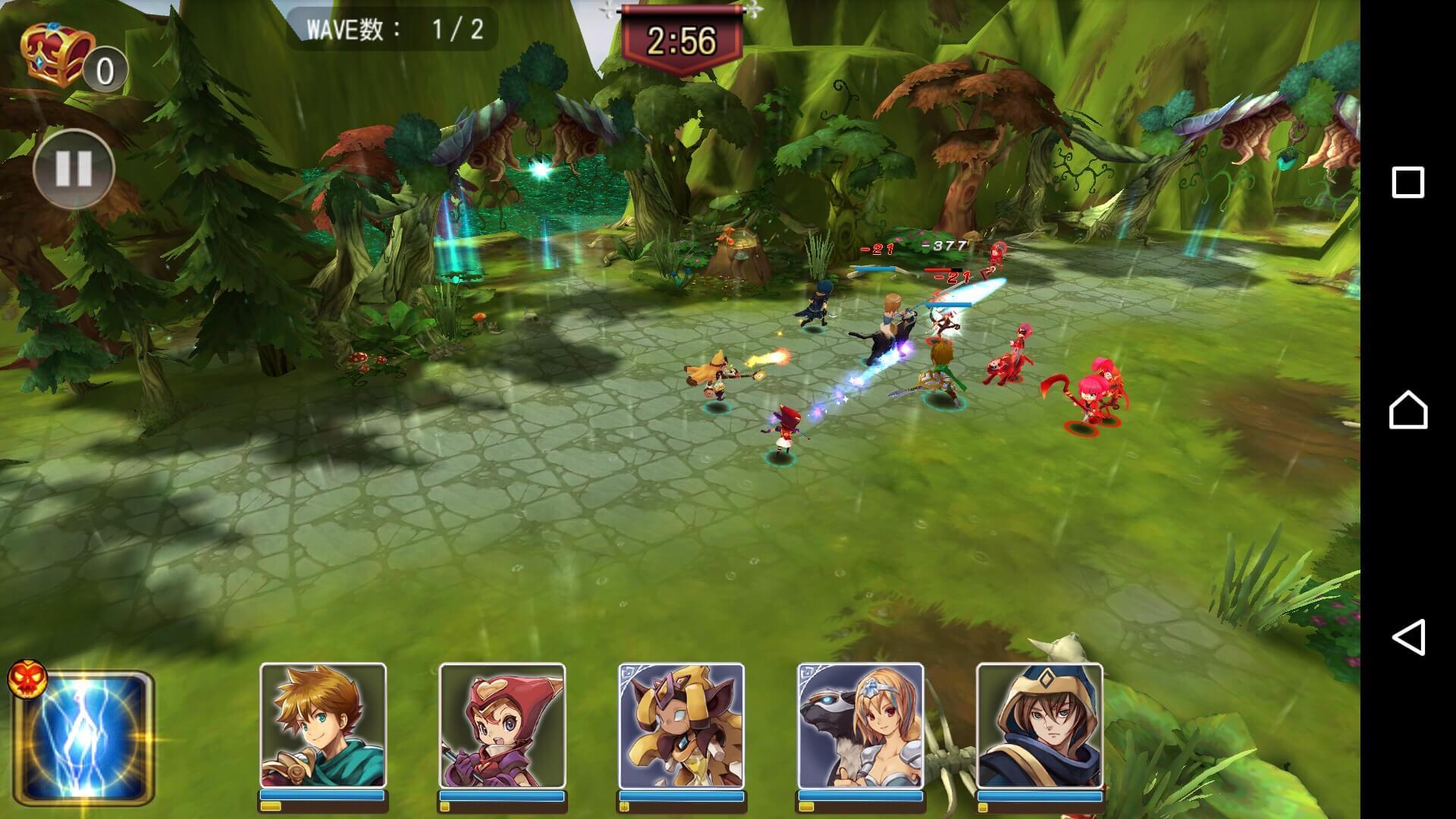 バトル画面では戦況がリアルタイムで変わっていきます。