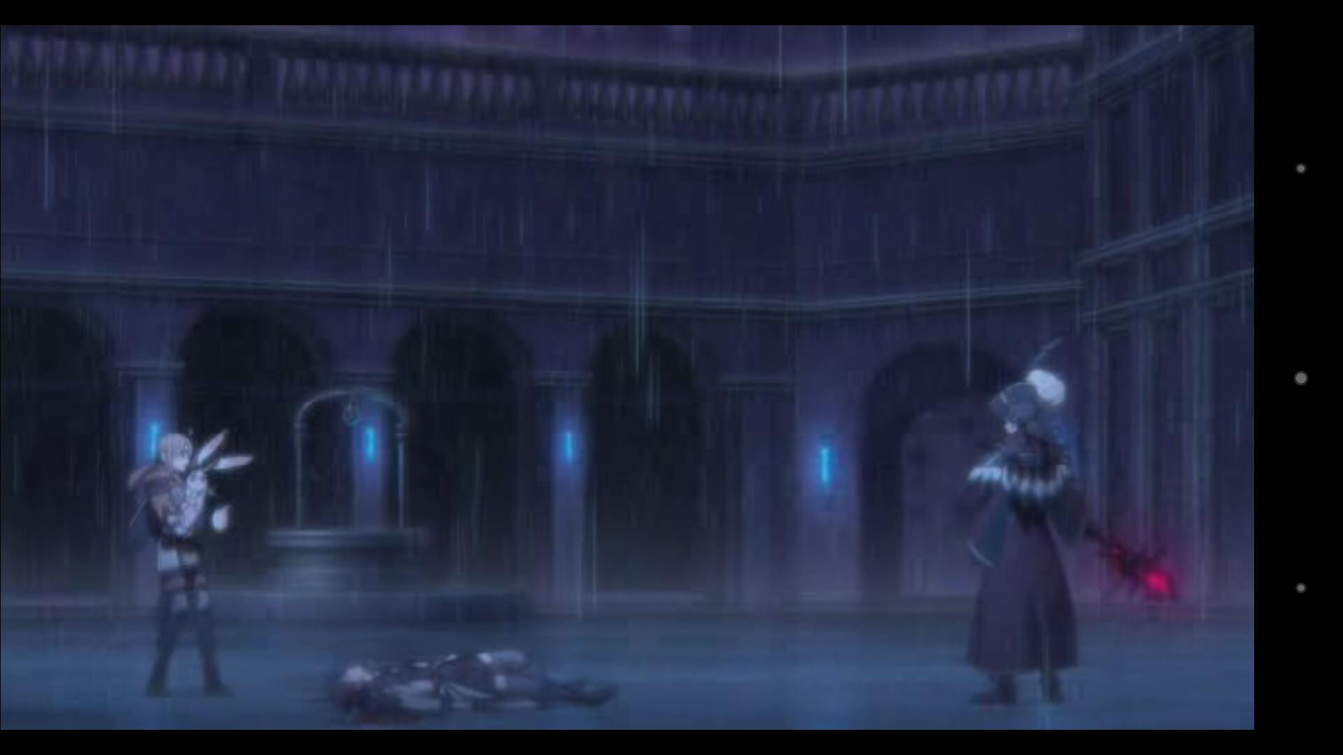 敵の攻撃の前に倒れる主人公、雨の中で絶望的な状況が広がります。