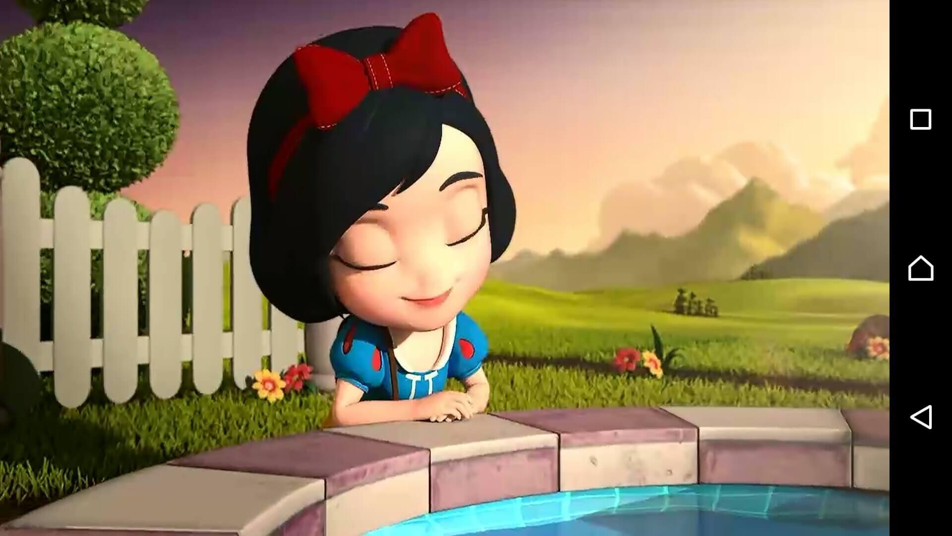 ディズニーマジカルダイス9 白雪姫風の主人公が噴水で佇んでいる様子