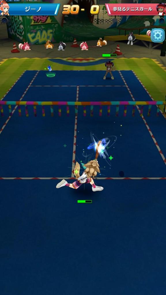 白猫テニス 打ち返している様子