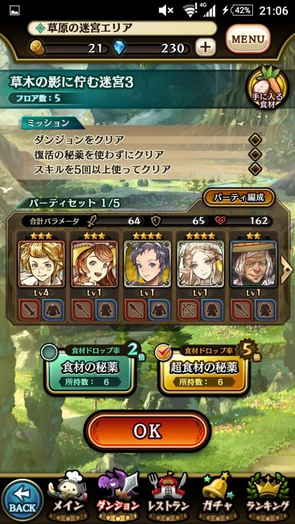 グランマルシェの迷宮 エリア情報画面