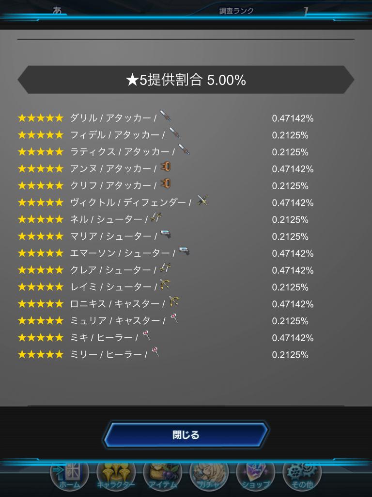 スターオーシャン ☆5提供割合